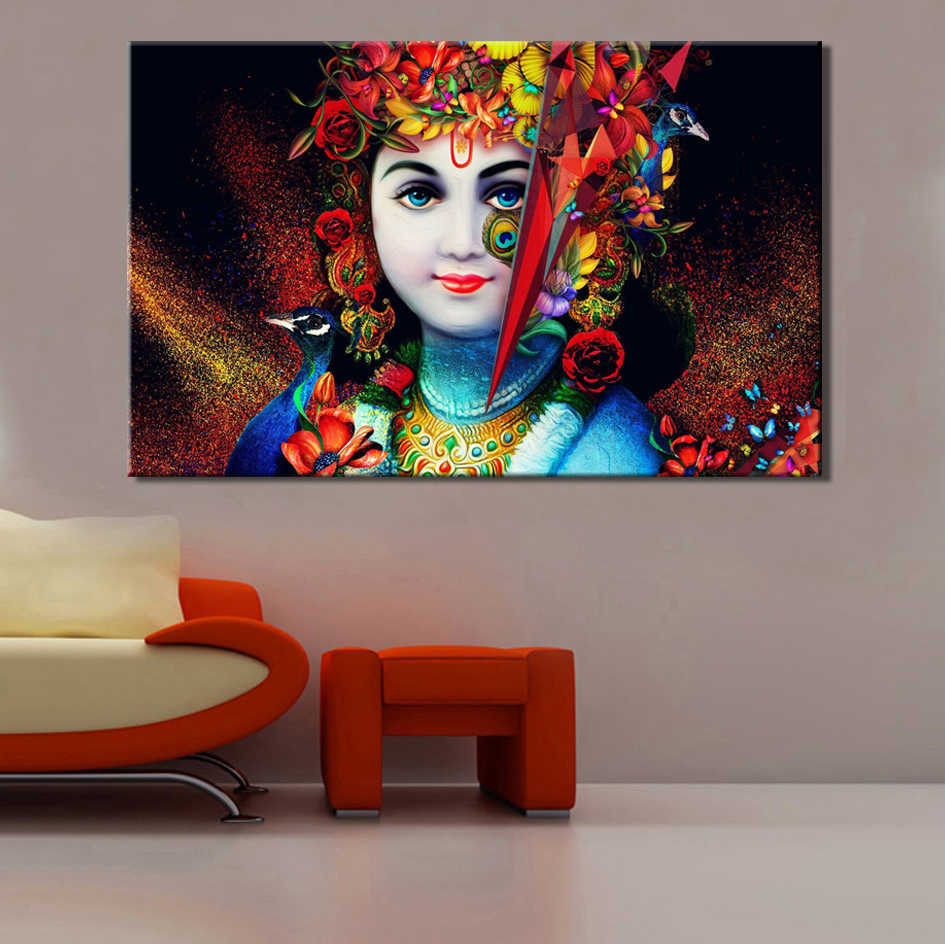 Hindusism Posters and Prints Wall Art Canvas Painting Beautiful Lord  Krishna Pictures Wall Decoration For Living Room Frameless