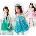 2016 Verano Vestido de Elsa Girls Princesa de Dibujos Animados de Moda de La Vendimia Niños Cosplay Traje de Encargo Del Partido de Cosplay Regalo xs Vestidos