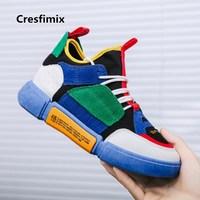 Cresfimix мужской моды Высокое качество Многоцветный удобные кроссовки на шнуровке Для мужчин Повседневное высокая обувь мужские классные кед...