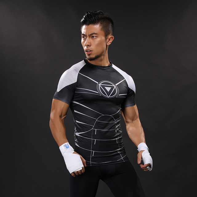 3D Printed T-shirts Men Compression Shirts Iron Man Short Sleeve Funny Cosplay costume Fitness Body Building Male Crossfit Tops