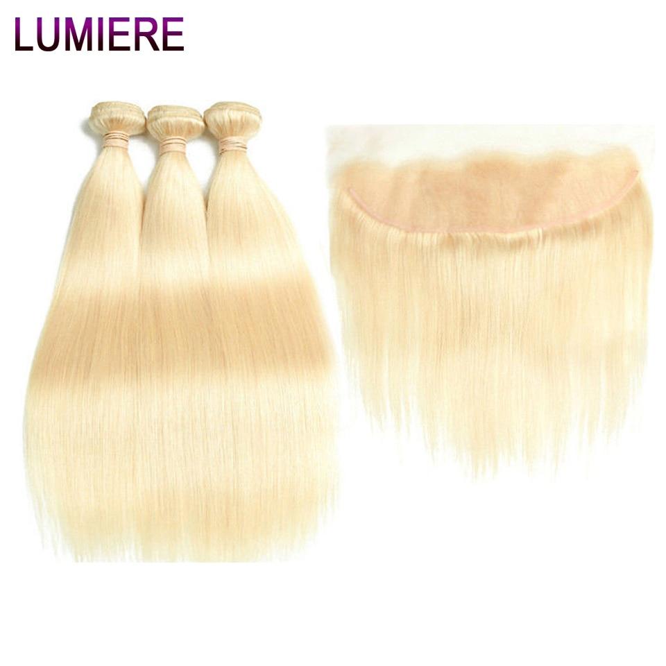 Lumiere Peruvian Human Hair Bundle 3PCS 613 Blonde Bundles With Frontal Straight Hair 613 Bundles With