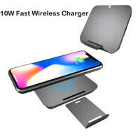 Phone 10W quick Wireless Charger For iPhone 8 X XS 2 In 1 Portable Power Qi Wireless Charging station Pad For Samsung S9 S8 Plus