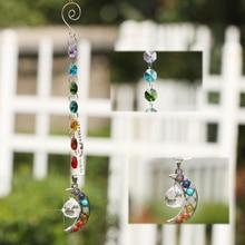 Chakra Crystal Natural Stone Moon Sun-catcher Crystal Prism Ball, Half-moon Handmade Rainbow Ball Pendulum Hanging Pendant