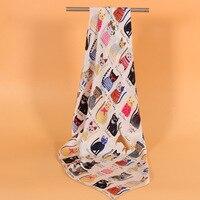 100% Silk Square Scarf Female Cute Cat Printed Silkworm Silk Woman Scarves Shawls Business Lady Scarves 90*90 F604