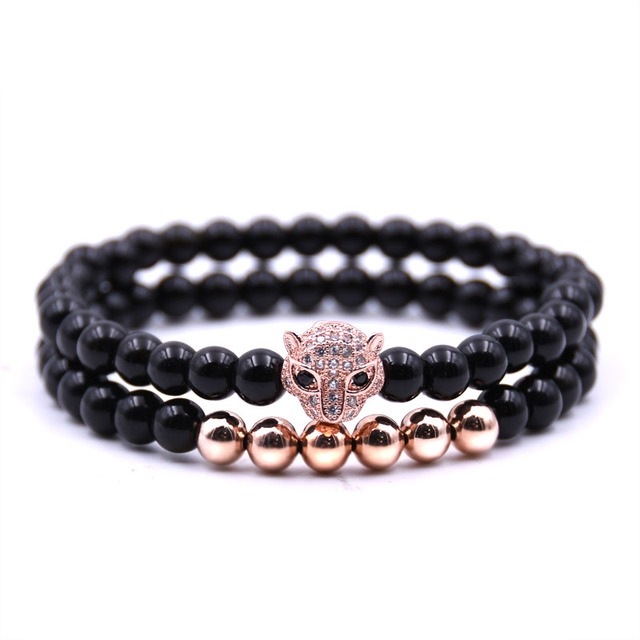 2pcs/set Charm Natural stone bracelets High quality Golden&Black&Silver&Rose gol