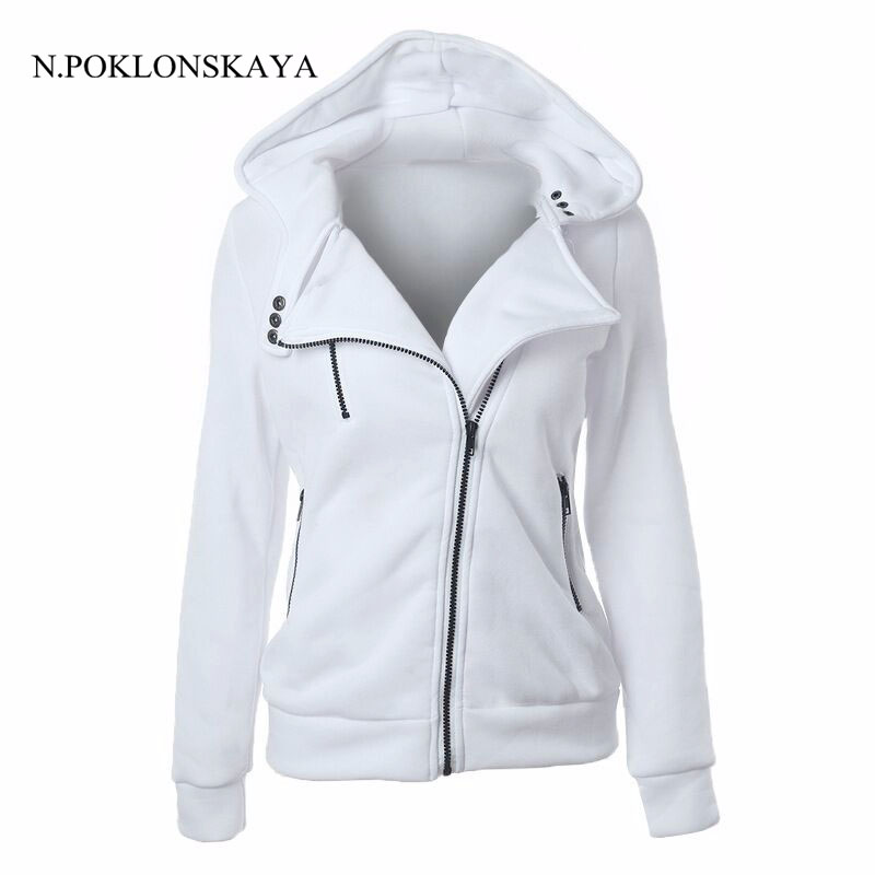 2017 Solid Color Women's Long Sleeve Hoodie Sweatshirt Zipper front Coat Women Spring Autumn Winter Casual Jacket V2R