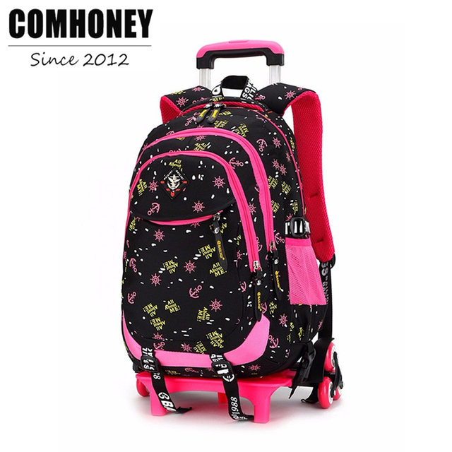 Girls Trolley Backpack Schoolbag Cartoon Orthopedic Bags for Children Trolley School Bag Boys School Backpack Kids Travel Bag