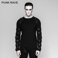 Punk Rave Rock Goth O Neck Personality Men's Steampunk Iron Man Motocycle Casual street T Shirt Top T457