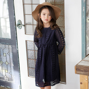 Image 2 - Girl Long Sleeves Lace Dress Child Baby Princess Wedding Party Girls Dress, White/Dark blue