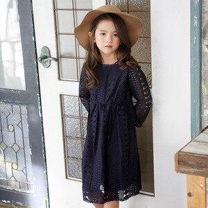 Image 2 - Vestido de manga larga de encaje para niña vestido para niña de fiesta de Boda de Princesa para bebé, Blanco/azul oscuro