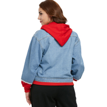 Women's Hooded Plus Size Denim Jacket