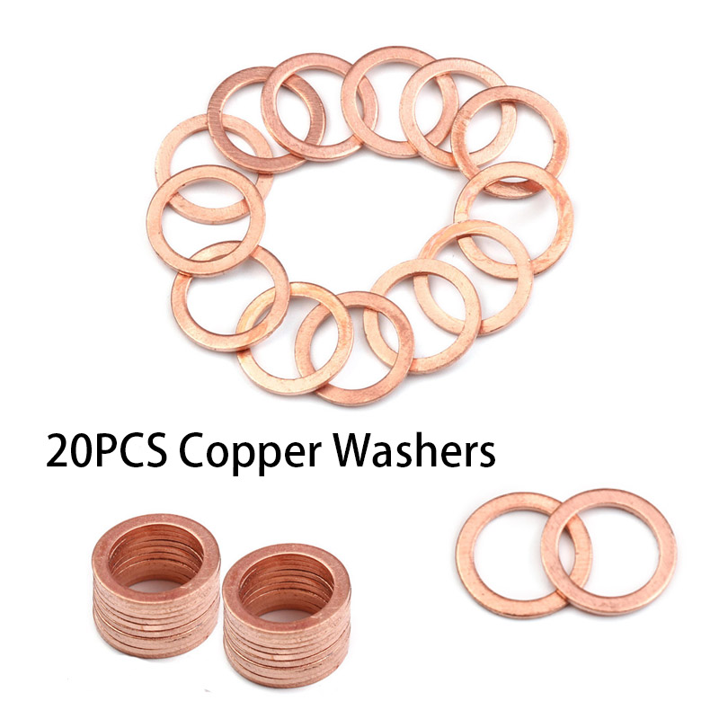 20Pcs Assorted Copper Washer Flat Ring Gasket Set Solid Seals Placemat Bowl Plug Oil Seal Parts Tool Fittings Hardware Fastener freeshipping ink wash paint bird цветочная теплоизоляция обеденный стол mat placemat диски bowl coasters водонепроницаемый скользкий мат