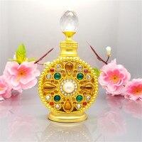 아랍어 parfume 병 럭셔리 로얄 금속 플레이트 향기 병 장식 유리 향수 에센셜 오일 dropper 병 골드