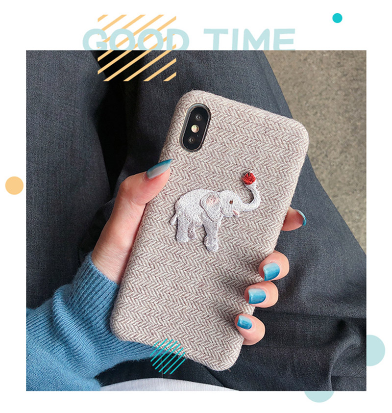 Cute Embroidered Elephant Phone Case For iPhone - Photo 1