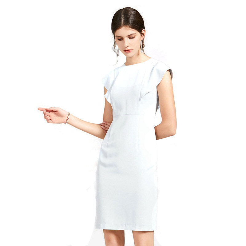 Elegant Solid Women Dress Sleeveless A line Casual Office Lady Female High Waist Short Dresses Summer Dress 2019 S 2XL in Dresses from Women 39 s Clothing