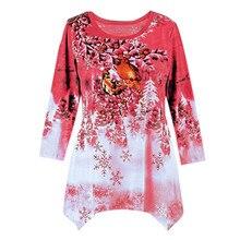 Plus Size 5XL Christmas Deer Moose Design Casual Warm Winter Blouse Female  Christmas Decoration Supplies Shirt a1a1605af5c2