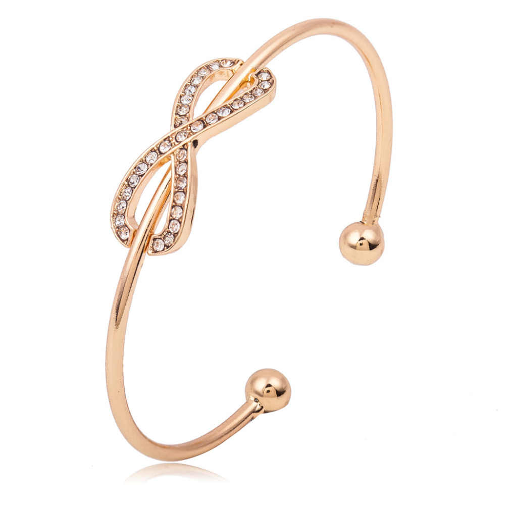 Infinity Charm Bangles Rhinestone Jewelry Gold Silver Plated Crystal Bracelets Cuff Open Hollow Metal Women Men Accessories