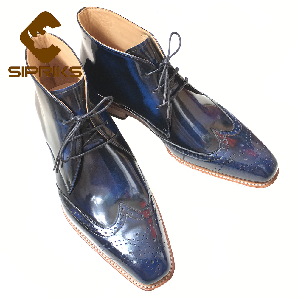 SIPRIKS custom mens goodyear welted boots unique dark blue ankle boots for men genuine leather sole wingtip boots brogue boots полироль пластика goodyear атлантическая свежесть матовый аэрозоль 400 мл