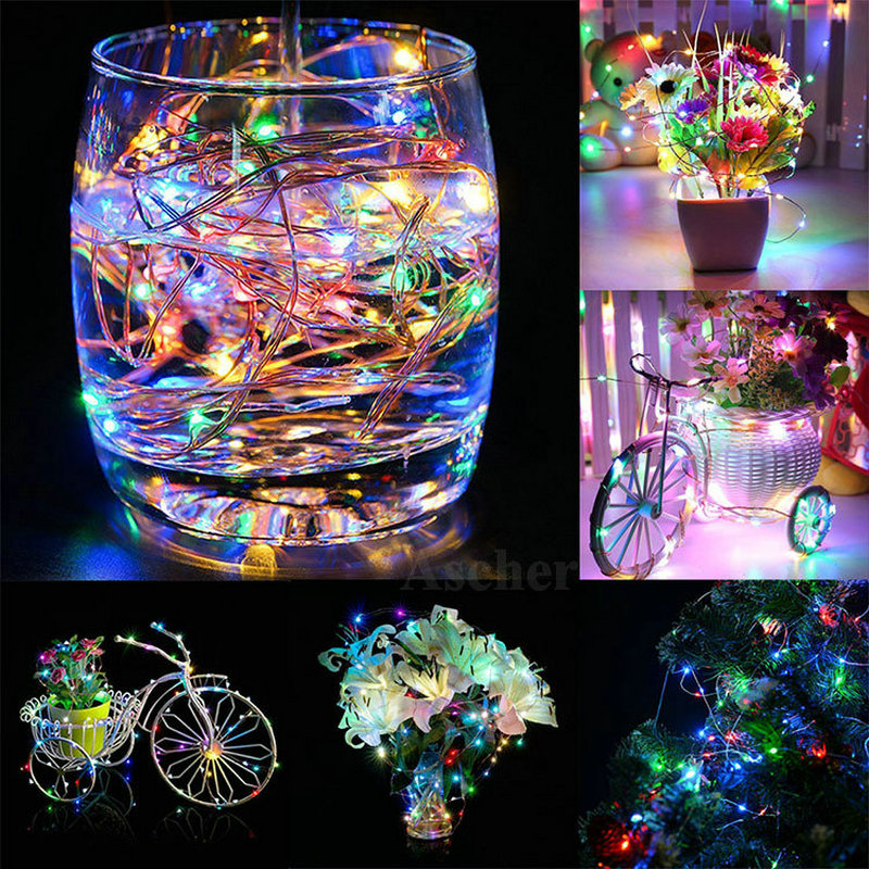 1PC 2M 20 LED Button Cell Battery Powered Light String Xmas Party Outdoor Indoor Decoration Silver Copper Wire Fairy Night Lamp
