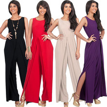 New Polish fashion personality sexy large size sleeveless middle-aged female fat MM sexy casual wide leg loose jumpsuit autumn new middle east popular solid color loose casual hanging neck loose wide leg large size fat mm sexy ladies dress