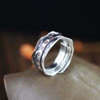 S925 czystego srebra ozdoby Thai srebrny handmade unisex czerwony pierścień cyrkonu