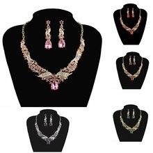 Crystal India Nupcial Joyería Africana Fija de Moda Elegante rhinestone Del Banquete de Boda vestido del collar fijó para Las Mujeres Accesorios