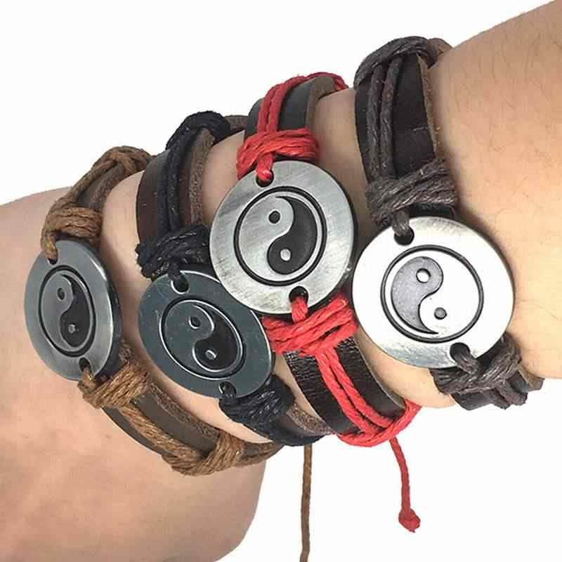 W stylu Vintage Amulet pokoju skórzane bransoletki łańcuch Unisex Rune Tai Chi Punk 2018 mężczyźni kobiety urok Yin Yang biżuteria