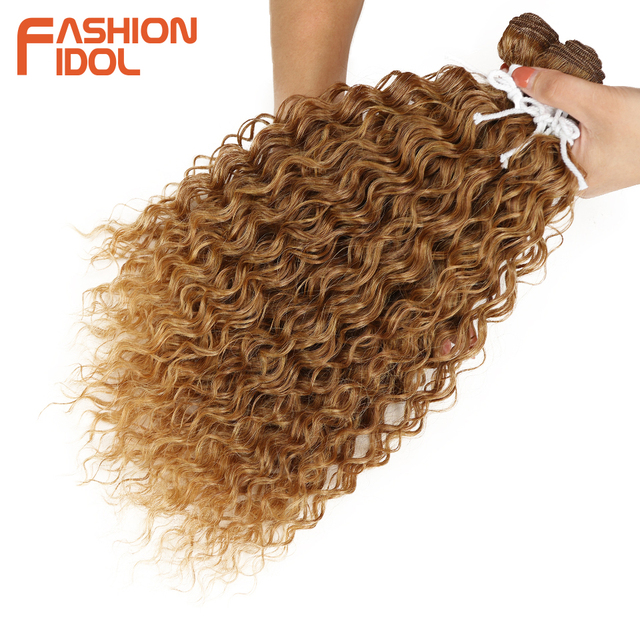 Fashion Idol Kinky Curly Synthetic Hair Extensions Bundles Ombre