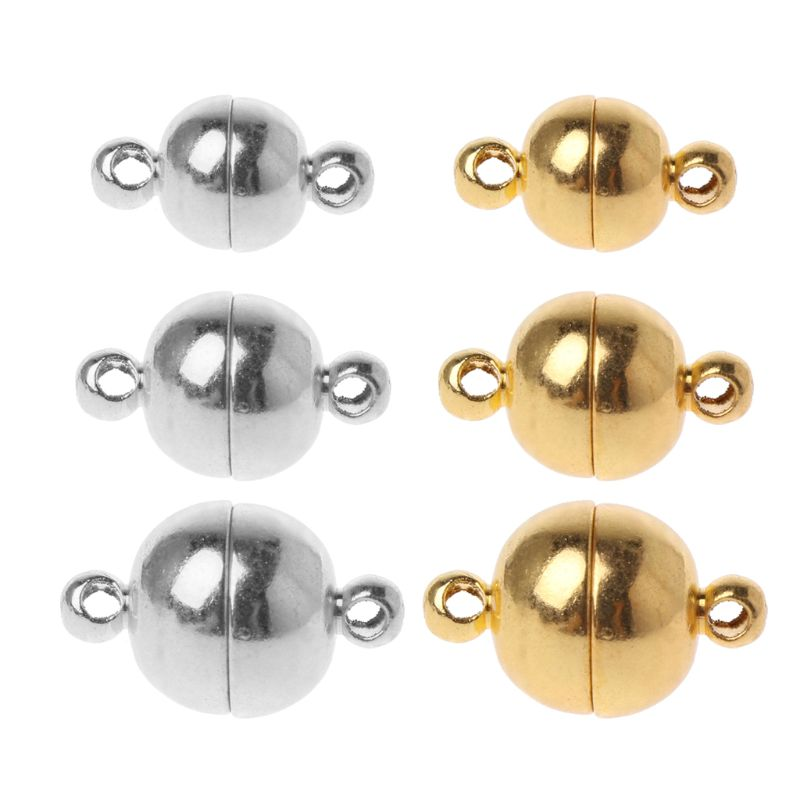 10pcs Stainless Steel Ball Shape Magnetic Clasp Converter For Jewelry Making Gold Silver White