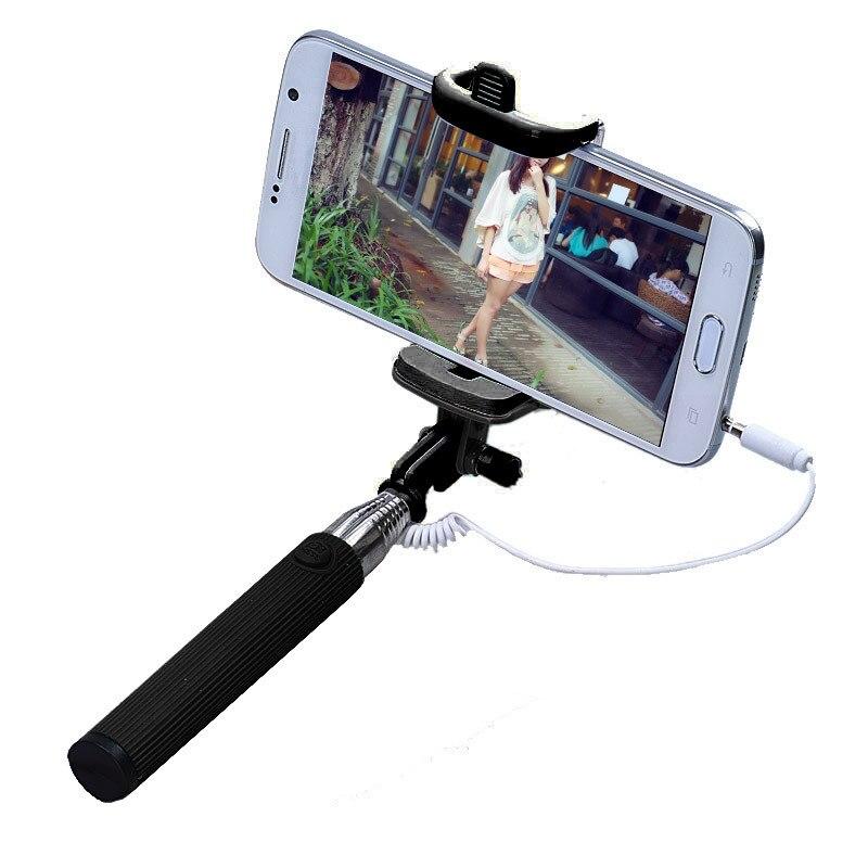 Malloom 2017 Mini Extendable Selfi stik Camera Wired Selfie Stick Handheld Monopod Tripod for IOS Android Mobile phone Black