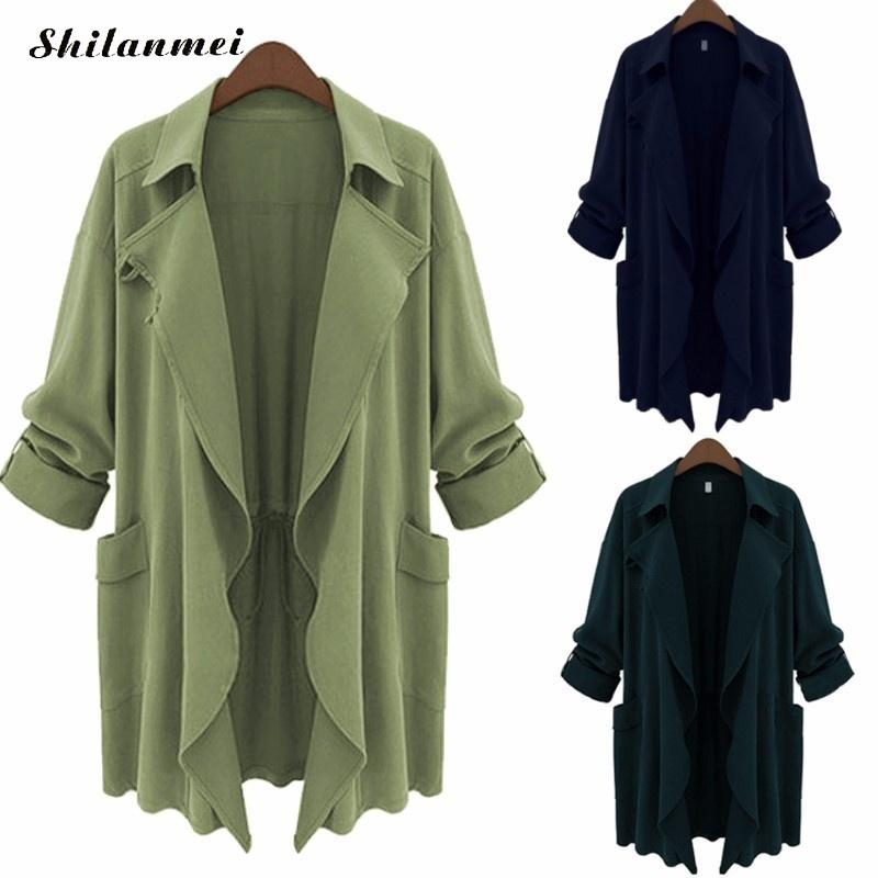 Autumn Women's Casual Hooded Coat Overcoat Office Ladies Outerwear Coat Solid   Trench   Loose Female Tops Plus Size 3XL 4XL 5XL