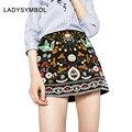 LADYSYMBOL Vintage Bordado Floral Short Pencil Skirt Negro Otoño 2016 Invierno de La Alta Cintura Delgada Mini Faldas Para Mujer Casual 90's