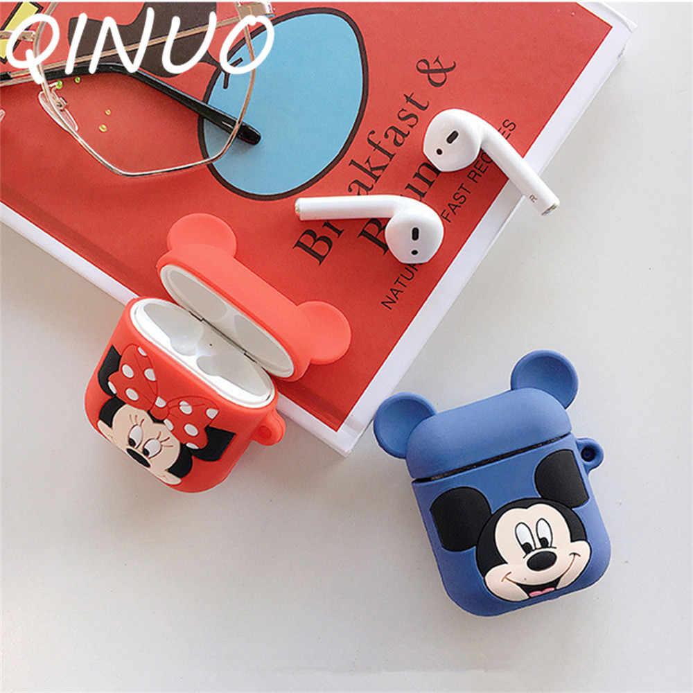 かわいい漫画の Bluetooth ワイヤレスイヤホン Apple AirPods ミッキーシリコーンヘッドフォンケース用ポッド 2 保護 Caso