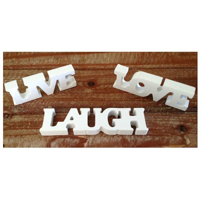3pcs LIVE LOVE LAUGH Wooden Letters For Wedding Decoration (White)