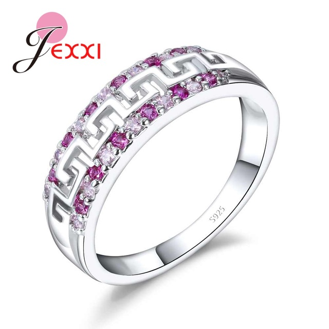 JEXXI Real Pure S90 Silver Band Promise Rings for Women Wedding Engagement Spark