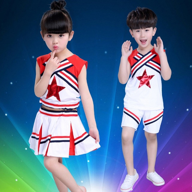Retail Kids Performance Costumes Suits Children Cheerleading Uniforms Dancewear Boys Girls Students Aerobics Cheerleader Costume