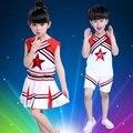 Retail Niños Ejecutante Trajes Trajes de Los Niños Dancewear Niños Niñas Estudiantes Uniformes de Porristas Aeróbicos Traje de la Animadora