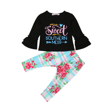 2Pcs Newborn Baby Girl Flare Long Sleeve Tops T Shirt Floral Pants Outfits Clothes Set 2019