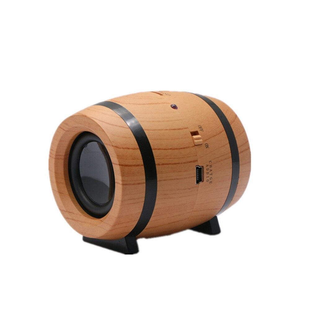 Beer Barrel Bucket Style Mini Wooden Wireless Bluetooth Music Speaker Stereo Hifi Base Soundbox Loudspeaker Micro SD TF Card Hot