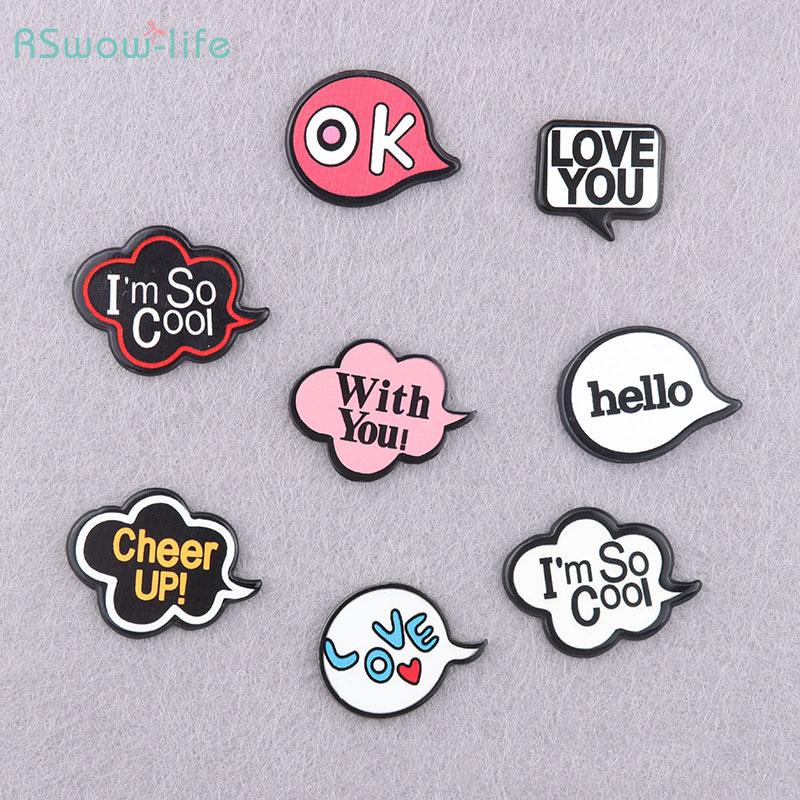 Cute Cartoon Resin Badge Brooch Backpack Clothes Accessories English Alphabet Style For Bag Clothing Decoration Accessories
