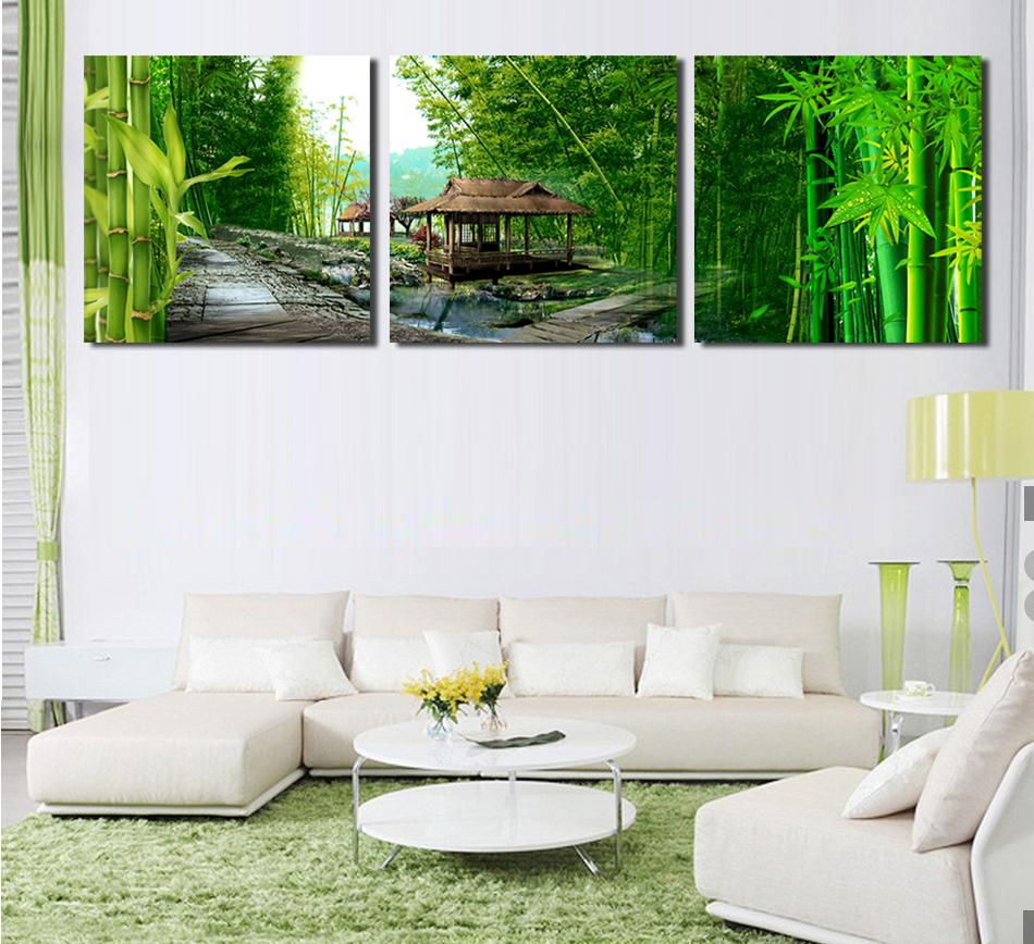 Atfipan 3 Panels Unframed Wall Art Picturse Modern Bamboo Canvas