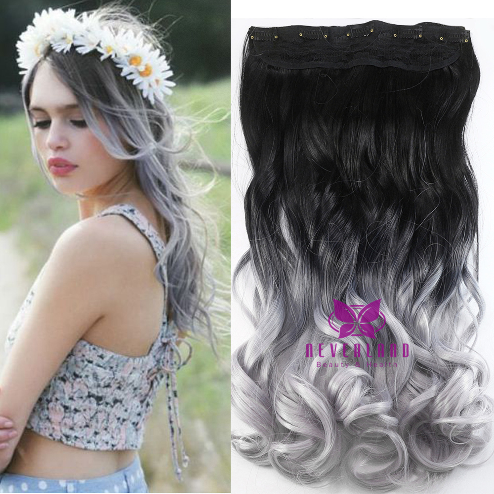 One Piece Hair Pad 24inch 60cm Lady Women Hairpieces Straight Black To Silver Grey Ombre Color Clip In On Extensions B20 Aliexpress
