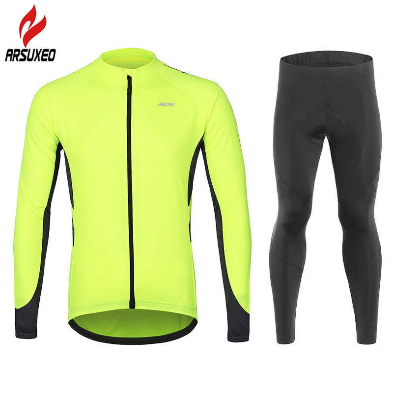 Mens Reflective Cycling Shirt Top Bike Bicycle Cycle Long Sleeve Jersey Colorful