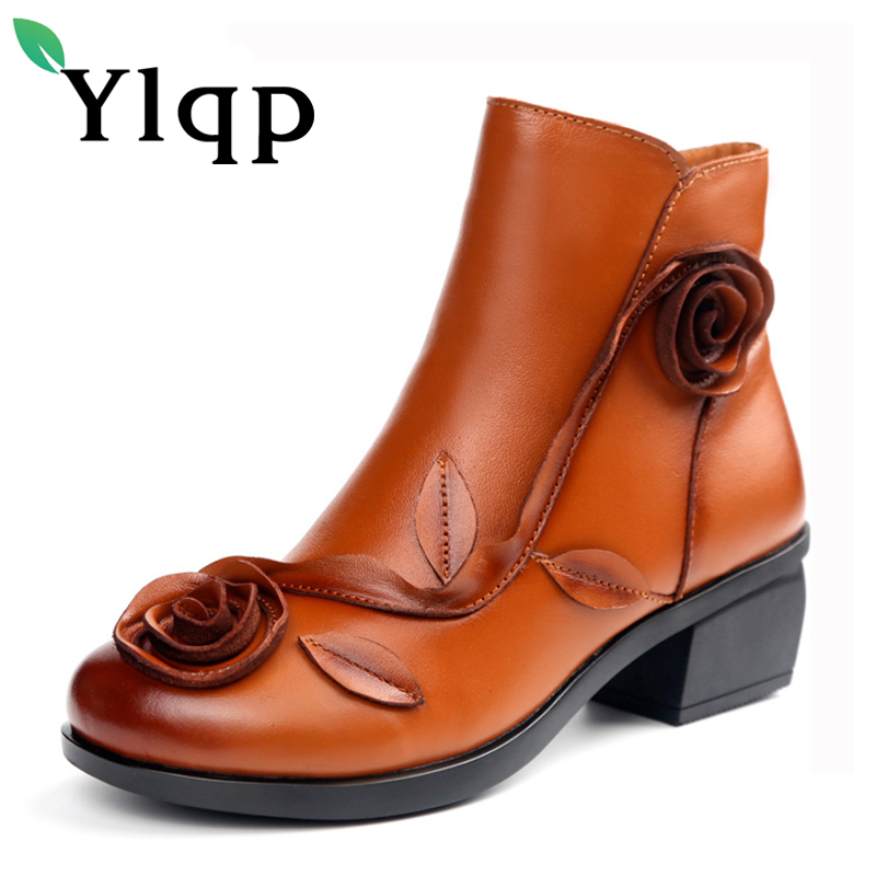 Ylqp New Women Genuine Leather Boots Handmade Retro National Wind Flower Winter Warm Shoes Ladies Soft Soles Mother Thick Boots