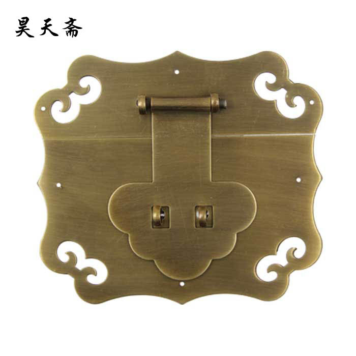 [Haotian vegetarian] copper antique Chinese wooden box padlock brand furniture accessories HTN-068 tri-color clouds[Haotian vegetarian] copper antique Chinese wooden box padlock brand furniture accessories HTN-068 tri-color clouds