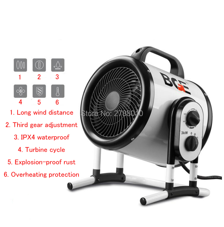 3000W Electric Heater High power Air Blower Air Heater for Bathroom/ Household Industrial Dryer Hot Air Fans BGP-1403-03T 3000w electric heater high power air blower air heater for bathroom household industrial dryer hot air fans bgp 1403 03t