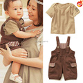 High Quality! 2015 New Baby Clothing Sets Korean Short Sleeve Cotton T-shirts + Pants 2Pcs Baby Boy Girl Clothes Free Shipping