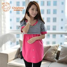 Stripe Short Sleeve Maternity Dresses 2016 New Summer Clothes For Pregnant Women Fashion Pregnancy Dresses Korean Shirt Belt