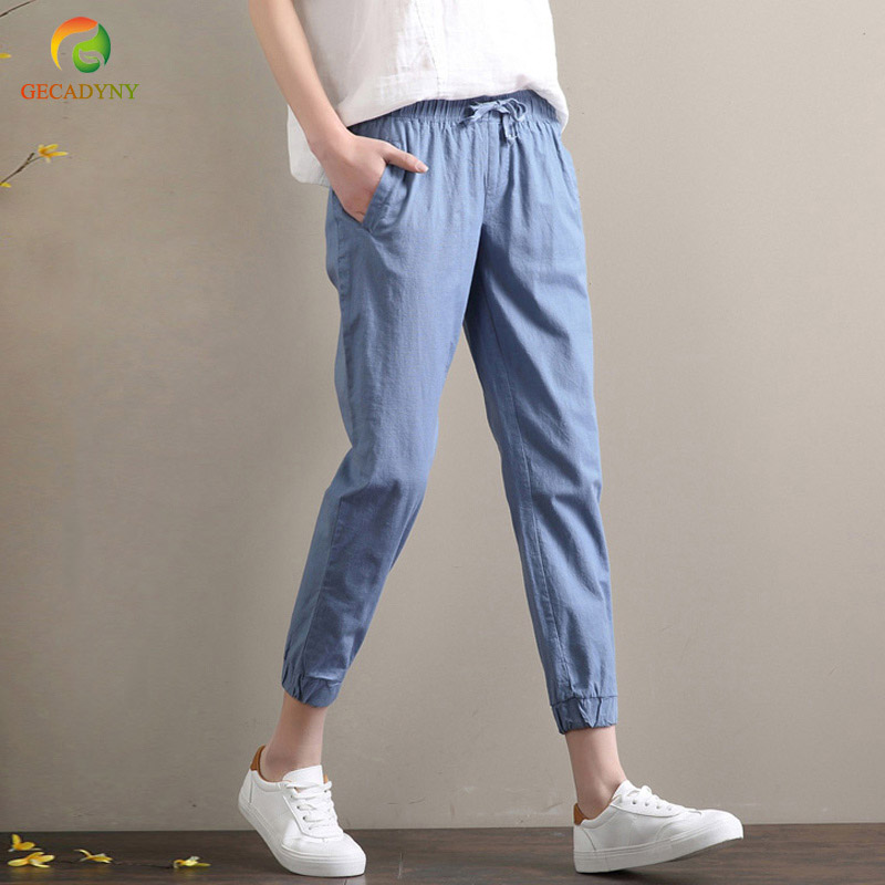 Large Size Summer Cotton Linen   Capris   Women   Pants   Pantalon Femme Elastic Waist Sweatpants Harem   Pants   Trousers Women S-XXL