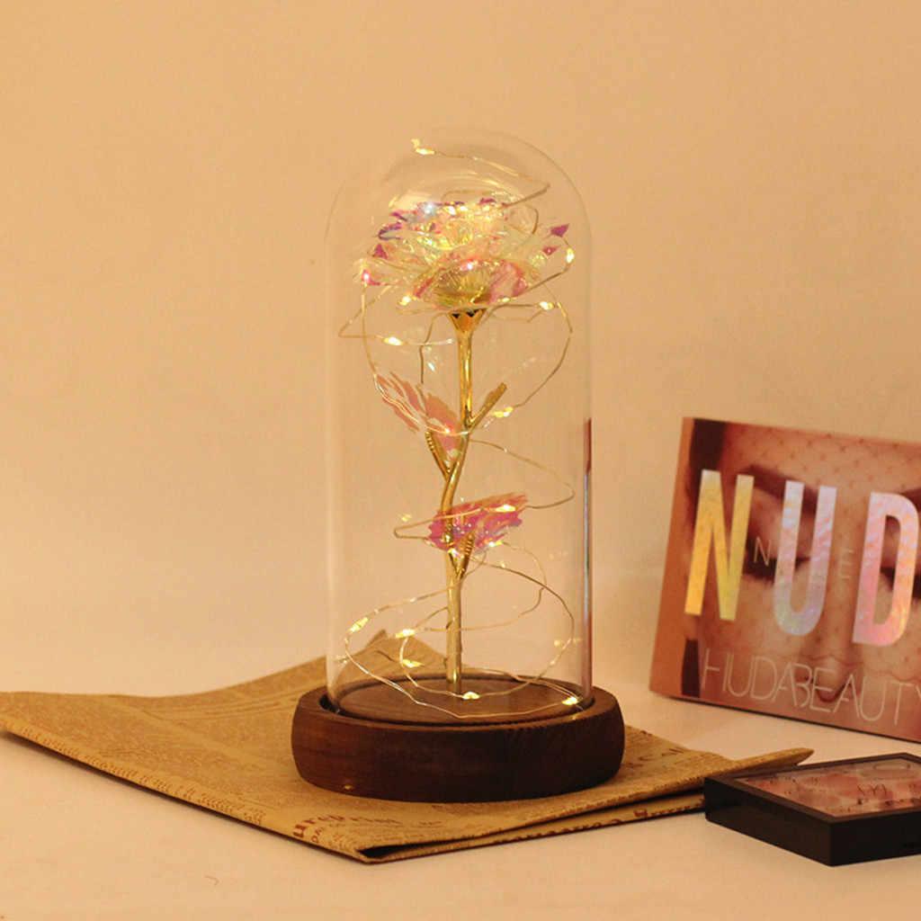 Rose Battery Powered Flower String Light Desk Lamp Romantic Plated Glass LED Golden Valentine's Day Birthday Gift Decoration
